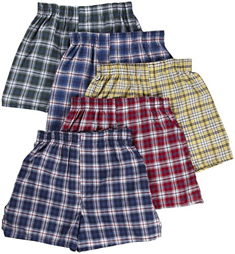 Fruit of the Loom Jungen Boxershorts (5er Pack) Gr. Small, Modischer Taillenbund mit Karomuster