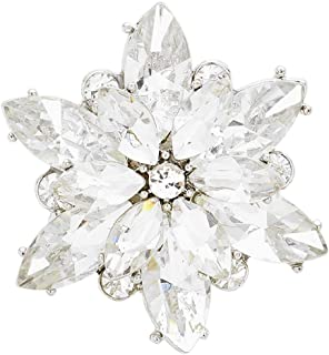 Rosemarie Collections Women's Dazzling Crystal Flower Stretch Cocktail Ring