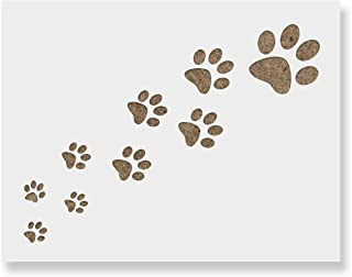 Trail of Paw Prints Stencil for Walls and Crafts - Reusable Stencils of a Trail of Paw Prints for Painting in Small & Large Sizes - Made in USA