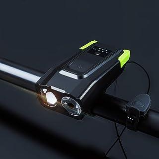 QIAO Luz Bicicleta Recargable USB, Linterna Bicicleta Impermeable con Luz Bicicleta Delantera, Campana y Luz Trasera Bicic...