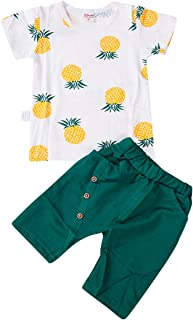 Toddler Kids Baby Boy Fruit Clothes Set Pineapple T-Shirt Solid Short Pants Summer Outfit 2Pcs 1-4Y
