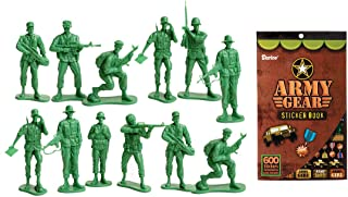 LightShine Products 12 Piece Large Green Plastic Army Men Toy Soldier Action Figures & 1 Army Gear Sticker Book