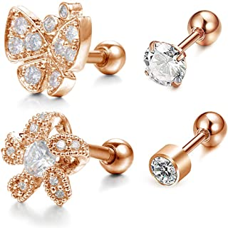 JFORYOU 4Pcs 316L Surgical Steel 16G Butterfly Flower Cartilage Earring Studs for Womens Girl Forward Helix Tragus Daith Studs