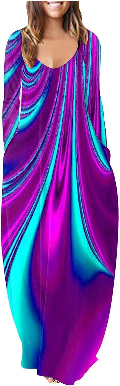 Women Maxi Long Dress Long Sleeve O Neck Feather Print Casual Loose Dresses Evening Party Sundress Vestidos