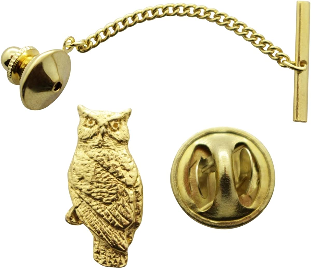 Sarah's Treats & Treasures Owl Tie Tack ~ 24K Gold ~ Tie Tack or Pin