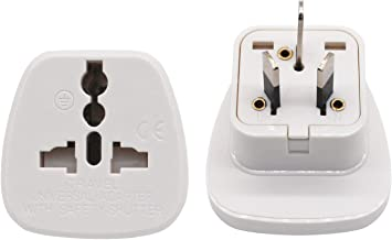 Travel Adapter for Australia/New Zealand with Safety Shutter and Insulated Pins, US/UK/JP/CN/EU to AU/NZ Grounded Outlet Socket (1 Piece)