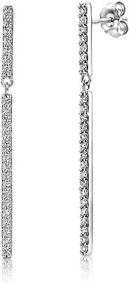 Miore Orecchini da donna in argento Sterling (925) di design, con zirconi taglio brillante