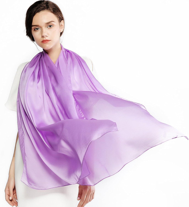 Silk Scarf for Women 100% Silk Sunscreen Long Large Lightweight Satin Shawl Wrap Headscarf