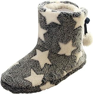POLP Zapatillas de algodón Cálidos Mujer Botas de algodón Cálidas Zapatillas de estar por casa Botas de Nieve Suaves Zapat...