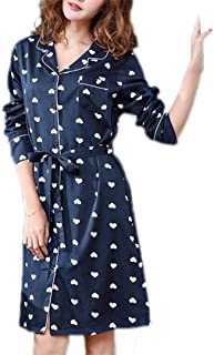 Summer Nightdress, Women's Thin Cotton Pajamas, mid-Length Lapels, lace-up Robe, Robe can be Worn Outside, Casual Home wear, Soft and Comfortable (Color : Blue, Size : L)