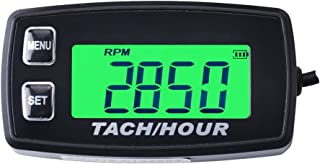 Runleader RL-HM035R Inductive Tachometer with Hour Meter Backlit Display for All Gasoline Engine Atv Utv Dirtbike Motobike Motocycle Outboards Snowmobile Pitbike Pwc Marine Boat