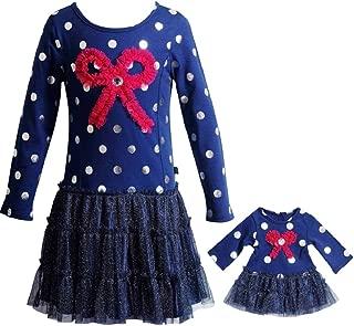 Dollie & Me Girls Navy Pink Bow Silver Dot Size 4-14 Tutu Tee Dress