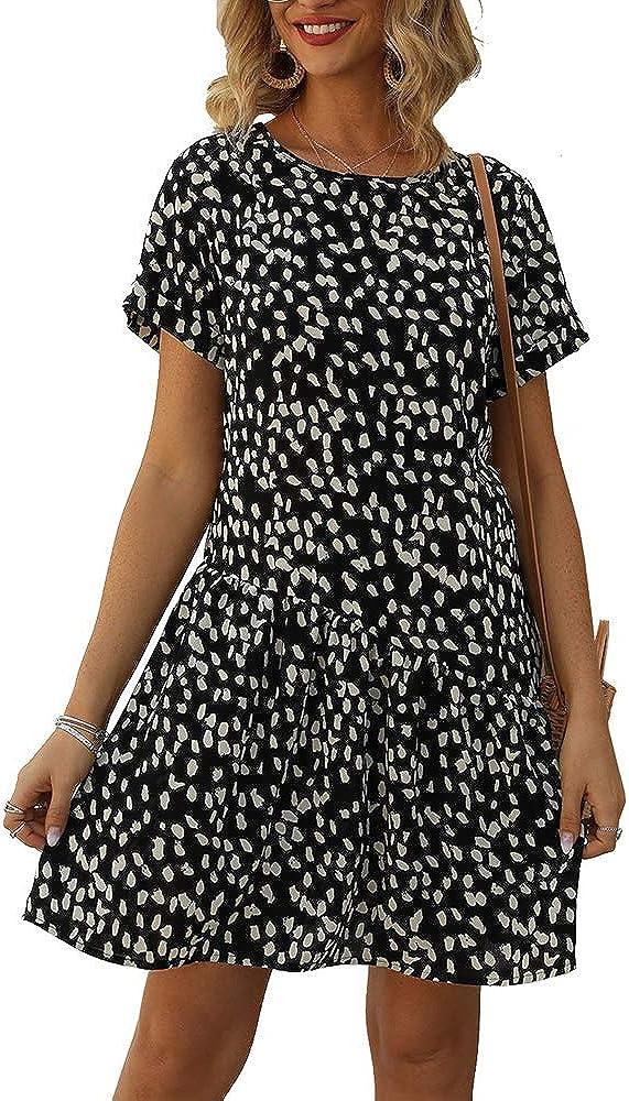 MBR Force Women Casual Dress Short Sleeve Leopard Dot Flowy Summer Dresses