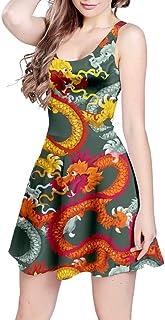 CowCow Womens Fun Dragon Pattern Traditional Party Sleeveless Dress, XS-5XL