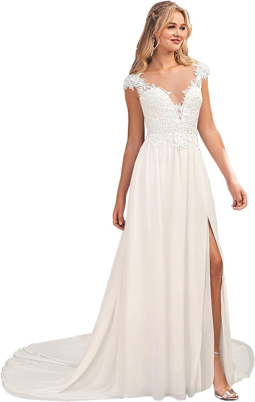 Women's Scoop Neck Lace Boho Wedding Dress Backless Long Slit ...