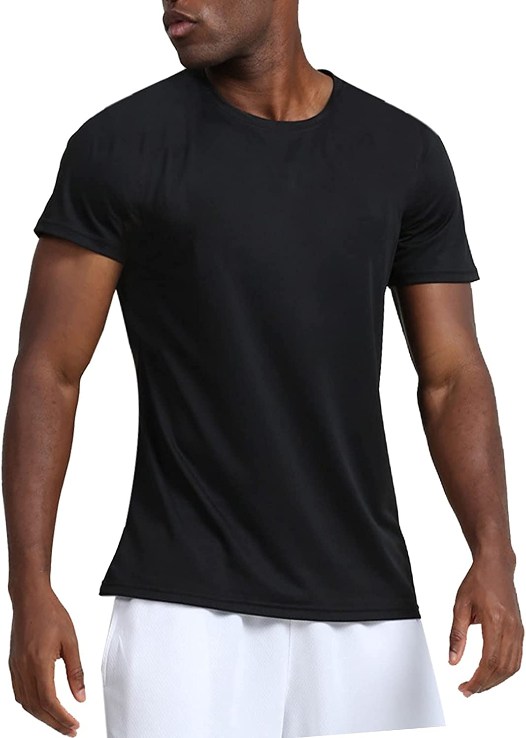 Men's Sport Shirt O-Neck Short Sleeve Solid T Shirt Summer Leisure Quick Drying Blouse Running Casual Fit Tee Top