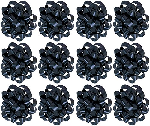 The Gift Wrap Company Decorative Confetti Gift Bows, Large, Black, pack of 12