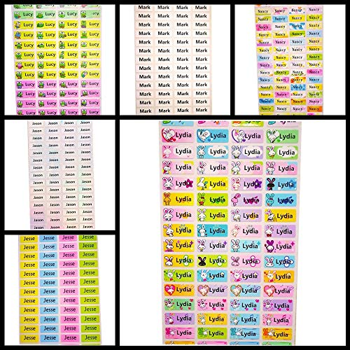 PMSMT 100 Uds 22 * 19 MM Coloridas Pegatinas de Nombre Personalizables Impermeables antidesgarro Accesorios para álbumes de Recortes Etiquetas Pegatinas Vintage