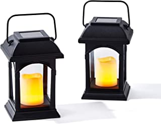 Small Outdoor Solar Lanterns - 6 Inch Black Lantern with Solar Powered LED Candle, Waterproof, Dusk to Dawn Timer, Hanging...