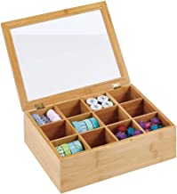 mDesign Bamboo Craft Storage Organizer Box - 12 Divided Sections, Hinged Lid with Easy View Clear Window Top - Decorative ...