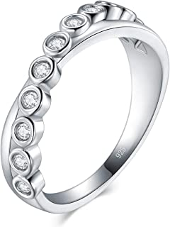 boruo 925标准纯银戒指,高抛光 tarnish 耐永恒结婚戒指十字架戒指