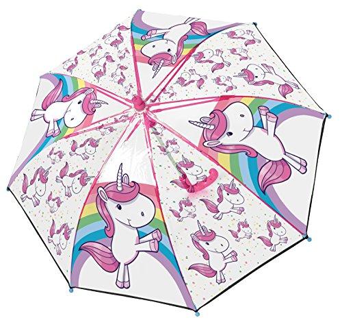 POS 28278 - Stockschirm mit Einhorn Motiv, Regenschirm für Mädchen, manuelle Öffnung und Fiberglasgestell, idealer Begleiter für regnerische Tage