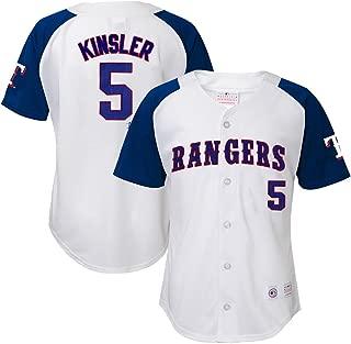 Ian Kinsler MLB Texas Rangers Player White Home Button Down Jersey Youth (XS-XL)