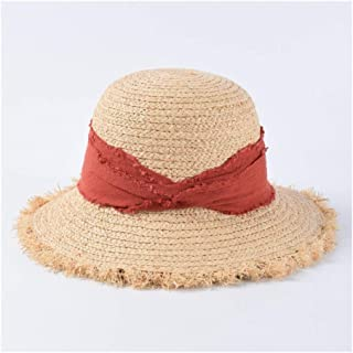Summer hat Female Japanese Leisure Dome Wide Furry Straw hat Holiday Beach hat Visor` TuanTuan (Color : Orange)