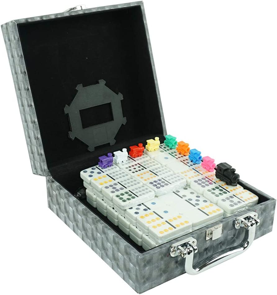LEQU Paly Dominoes Set – Over item handling Sale item Train Se Tiles Mexican 91