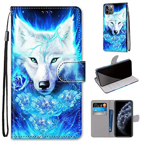 Miagon Flip PU Leder Schutzhülle für iPhone 12 Mini,Bunt Muster Hülle Brieftasche Case Cover Ständer mit Kartenfächer Trageschlaufe,Rose Wolf