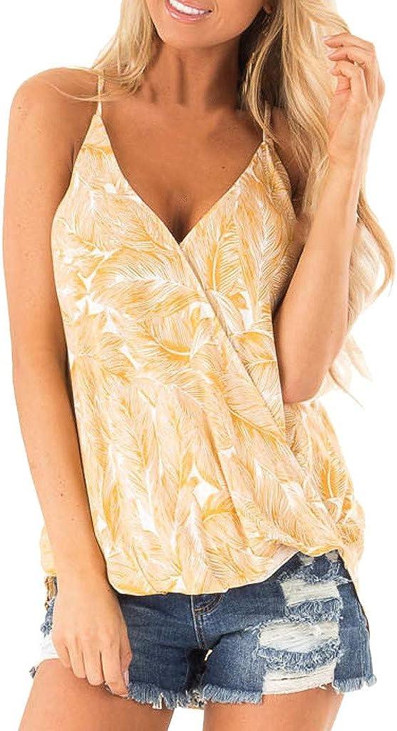 V Neck Women Camisole Adjustable Spaghetti Strap Blouse Seamless Basic Stretch Sleeveless Side Split Tank Tops