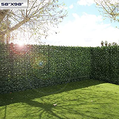 "Windscreen4less Artificial Faux Ivy Leaf Decorative Fence Screen 58"" x 98"" Ivy Leaf Decorative Fence Screen"