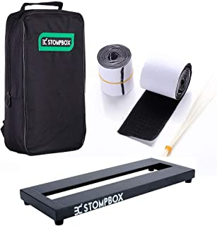 Ex Stompbox Mini Pedalboard Case, Portable Aluminum Alloy Guitar Effects Pedal Board with Soft Bag Sets Including Pedal Mounting Tape and Cable Ties/Pedals Accessories (14
