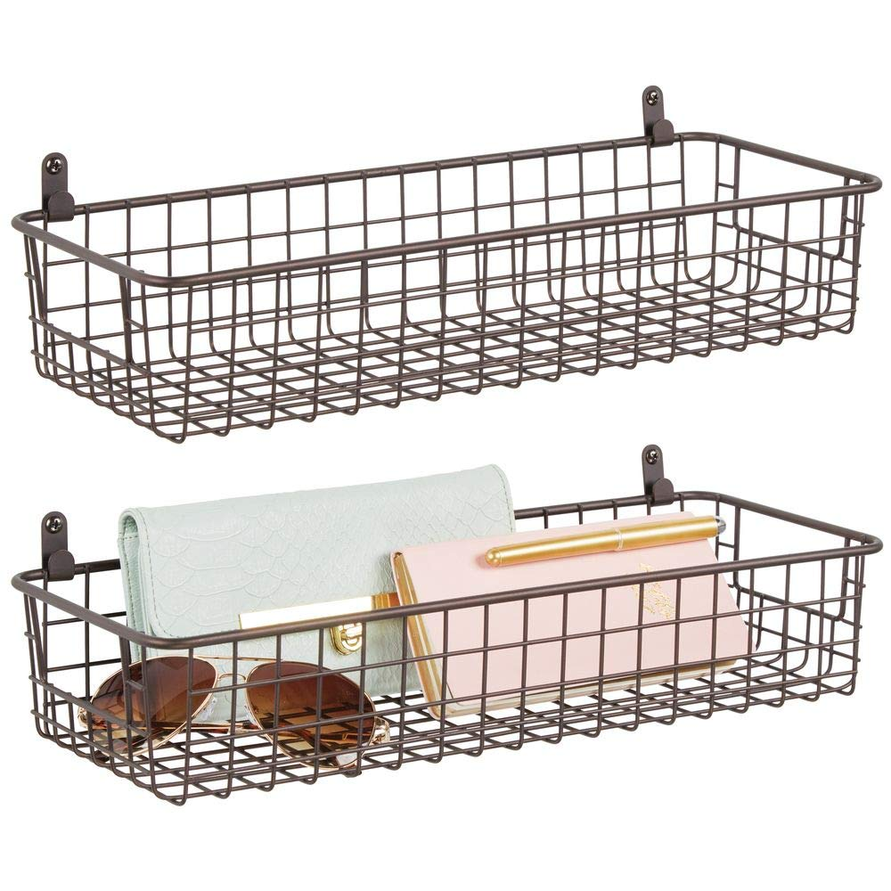 Amazon Com Mdesign Portable Metal Farmhouse Wall Decor Storage Organizer Basket Shelf With Handles For Hanging In Entryway Mudroom Bedroom Bathroom Laundry Room Wall Mount Hooks Included 2 Pack Bronze