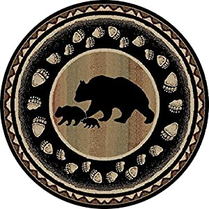 Rug Empire Take the Lead Rustic Lodge Area Rug, Black Bear, Round