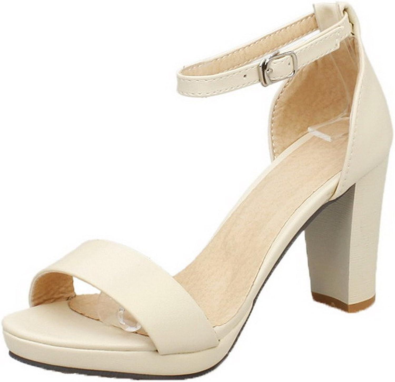 AllhqFashion Women's Buckle Open Toe High Heels PU Solid Heeled-Sandals