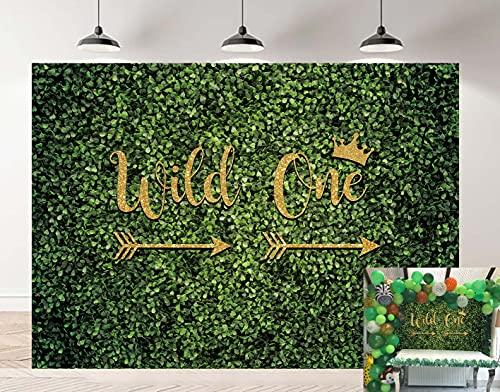 Wild One - Fondo para fotografía de pared con hojas verdes, diseño de la selva salvaje, para un niño o niña, cumpleaños, fiesta al aire libre, decoración de mesa para tartas (240 x 180 cm)