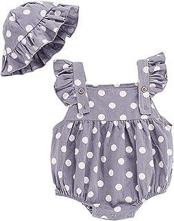 Xmiral Baby Mädchen ärmellose Punktdruck Strampler  Rüschen Hut Outfits