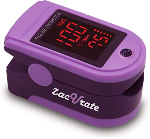 Zacurate Pro Series 500DL Fingertip Pulse Oximeter Blood Oxygen Saturation Monitor with Silicon Cover, Batteries and ...