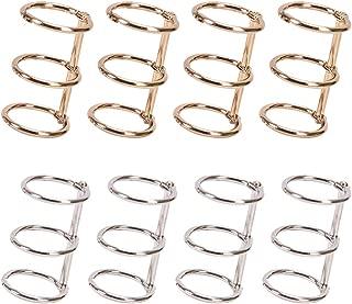 8 PCS Metal 3-Ring Loose Leaf Binders Book Rings 20mm Inner Diameter,Binding Spines Combs,DIY Diary Photo Album Rings Book Calendar Round Circle,Silver and Golden