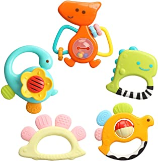 Sponsored Ad - TINOTEEN Baby Rattles Toys Set, 5Pcs Teether Shaker Grab Spin Rattle Toy for 3 6 9 12 18 Month Babies Infan...