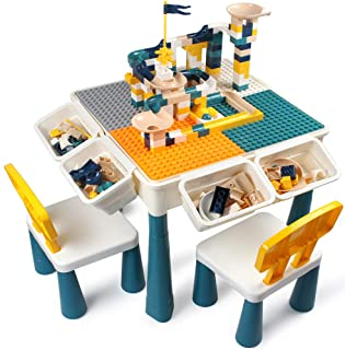 GobiDex 7 in 1 Multi Kids Activity Table Set with 2 Chairs and 100 Pcs Large Size Blocks Compatible with Classic Blocks.Wa...