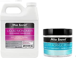 Mia Secret - Monomer 32 oz - 946ml & 8 oz CLEAR Acrylic Powder MADE IN USA + FREE Temporary Body Tattoo
