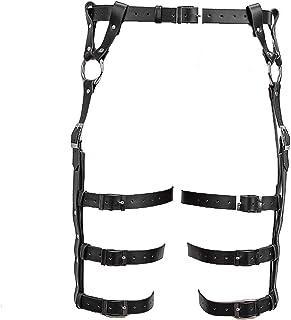 CHUO YUE Adulto Suministros Sexy Punk Cuero Liga Ajustable Cintura Pierna Leggings Cintura cinturón,Black