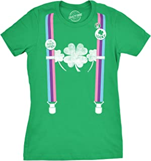 Womens Rainbow Suspenders Funny Saint Patricks Day Shamrock St Pattys T Shirt