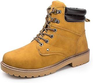 487ffa95187789 XIGUAFR Chaussure Boots Martin en Cuir Souple Militaire en Plein Air Garde  au Chaud Automne Hiver