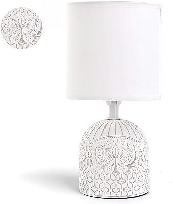 Aigostar - Lampe de Table, Lampe en Céramique, Douille E14, Corps Blanc Avec Gravure Papillon, Abat-jour en Tissu, Lampe de Bureau Design Moderne.