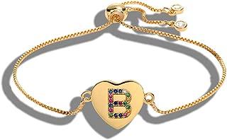 Cubic Zirconia 26 Alphabet Letter Charm Bracelet Femme Copper A Z Initial Chain name Bracelets for Women Jewelry Adjustable