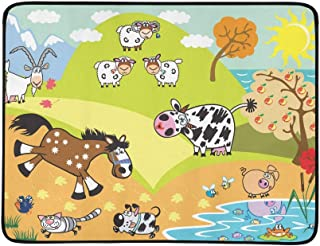 Cartoon Domestic Animals Sheepcow Goat Horse Pig D Pattern Portable and Foldable Blanket Mat 60x78 Inch Handy Mat for Camping Picnic Beach Indoor Outdoor Travel