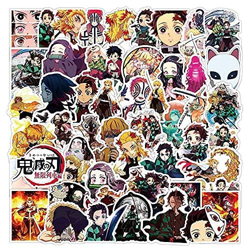 XXCKA 50 Piezas no repetitivo Anime japonés Demon Slayer Dibujos Animados Anime Pegatinas Equipaje Maleta portátil Maleta Graffiti Pegatinas Impermeables